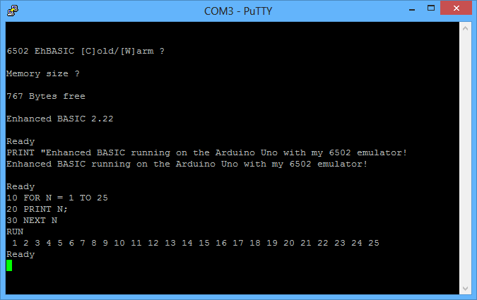 Arduino 6502 emulator + BASIC interpreter
