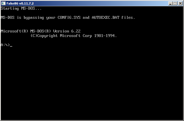 ms-dos 6.22 bootable