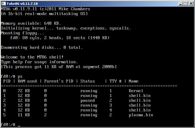 OSDev org • View topic - MT86 v0 11 9 11 floppy image